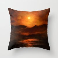 sunset Throw Pillows featuring Sunset by Viviana Gonzalez