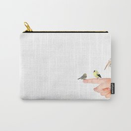 Small Birds Perching on a Hand Carry-All Pouch