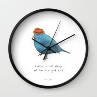 onesie Wall Clocks featuring wearing a hat always put him in a good mood by Marc Johns