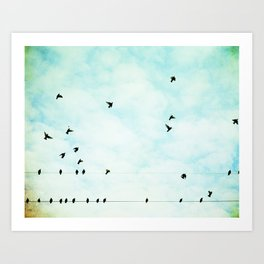 Birds Flying in Sky, Birds on Wires, Aqua Sky Nursery Art, Turquoise Pastel Nature Photo Art Print