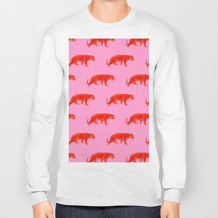 Vintage Cheetahs in Coral + Red Long Sleeve T-shirt