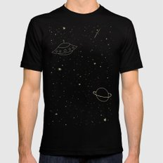 Space Trip to Saturn Black Mens Fitted Tee LARGE