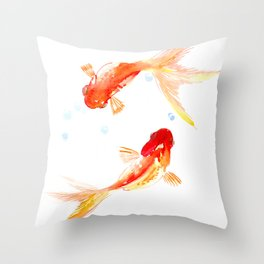 Goldfish, Two Koi Fish, Feng Shui, yoga Asian meditation design Throw Pillow