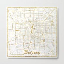 Beijing Map Gold Metal Print