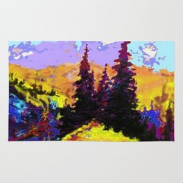 Decorative Abstract Blue Purple Landscape Art Rug