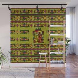 Colorful Aztec Inca Mayan Mask Wall Mural