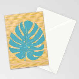 Monstera in Turquoise and Gold Stationery Cards