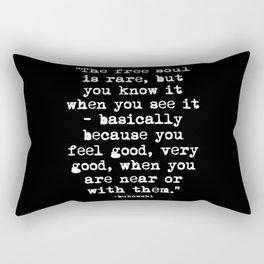 Charles Bukowski Typewriter White Font Quote Free Soul Rectangular Pillow