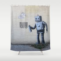 banksy Shower Curtains featuring Banksy Robot (Coney Island, NYC) by Limitless Design