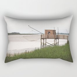 Wooden Fishing Hut on Stilts in the Gironde river, France (Carrelets) - French Nature and Landscape Photography Rectangular Pillow
