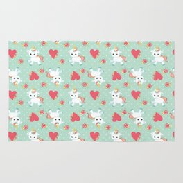 Baby Unicorn with Hearts Rug