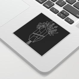 Crystal Flower Bouquet Black Sticker