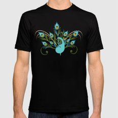 Just a Peacock MEDIUM Black Mens Fitted Tee
