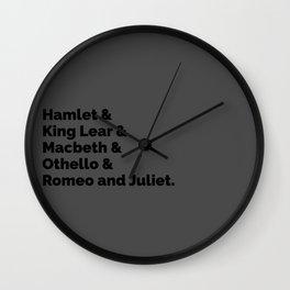 The Shakespeare Plays II Wall Clock