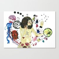 biology Canvas Prints featuring Biology Homework / Teen Witch by Eleanor Barker Illustration