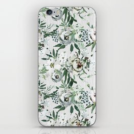 Green white blush pink watercolor geometrical floral iPhone Skin