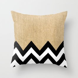 BURLAP BLOCK CHEVRON Throw Pillow