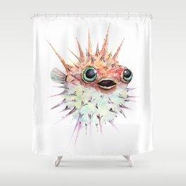 Watercolor Puffer Fish Shower Curtain