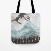 smaug Tote Bags featuring The Desolation of Smaug by JadeJonesArt