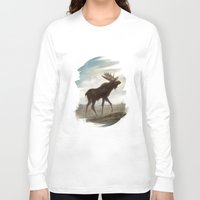 moose Long Sleeve T-shirts featuring Moose by Alex Perkins