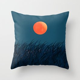 Abstraction_RED_MOONLIGHT_LANDSCAPE_POP_ART_001MO Throw Pillow