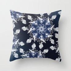 Damask blue Throw Pillow