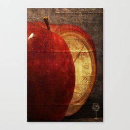 Mysterious relationship of apple and time Canvas Print