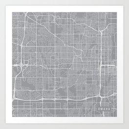 Omaha Map, Nebraska USA - Pewter Art Print