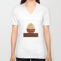 nursery V-neck T-shirts featuring Humpty Dumpty. Children's Nursery Rhyme Inspired Artwork. by Dan Howard