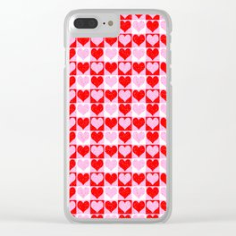 Love Heart Red Pink and White Check Pattern Clear iPhone Case