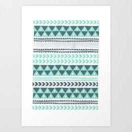 Minty Geometric Stripe Art Print