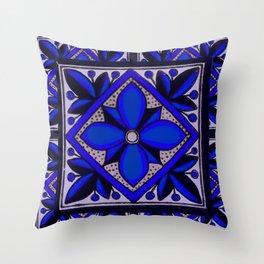 talavera mexican tile in blu Throw Pillow