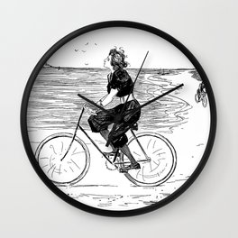 A Lovely girl is riding a bike at the beach - hand drawn retro style illustration Wall Clock