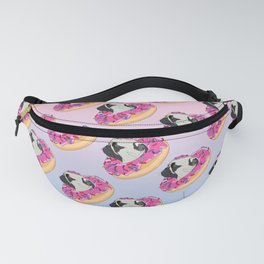 Pug Donut Strawberry Profile Fanny Pack