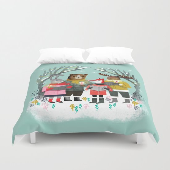 Woodland Christmas Carols by Andrea Lauren  Duvet Cover
