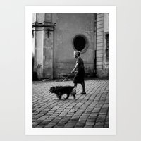 Woman with a Dog Art Print