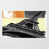 bonjour Area & Throw Rugs featuring Bonjour Paris  by Steven Taylor