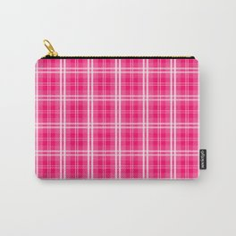Bright  Neon Pink and White Tartan Plaid Check Carry-All Pouch