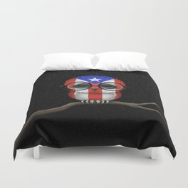 Baby Owl with Glasses and Puerto Rican Flag Duvet Cover