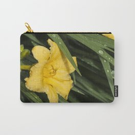 Yellow Daylily and Leaves Carry-All Pouch