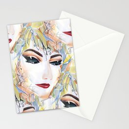 Elegant Fashionable Chic Sensual Female in Pop Surrealism Style Stationery Cards