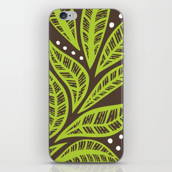 Floral tropical green leaves on brown background by ayeletfleming