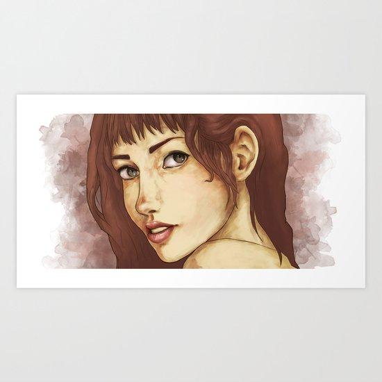 Red Feminine Girl Art Print