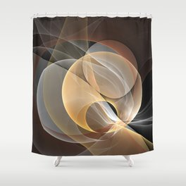 Brown, Beige And Gray Abstract Fractals Art Shower Curtain