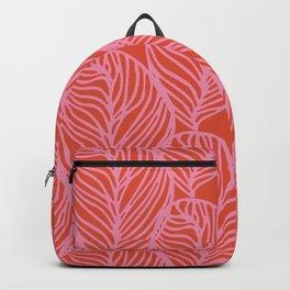 petaluma: pink leaf pattern Backpack