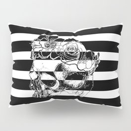 Gorgeous Skull With Flower Crown - Black and White Stripes Pillow Sham