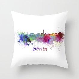 Berlin skyline in watercolor Throw Pillow
