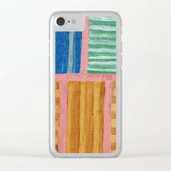 Beautiful Stripes Pattern within a Pink Grid Clear iPhone Case