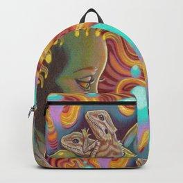 The Egg Maiden, Bearded Dragon Lizard Art Backpack