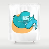 pisces Shower Curtains featuring Pisces by Chiara Zava